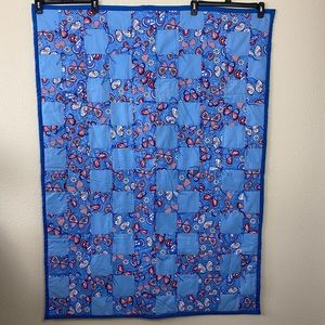 Red White & Blue Butterflies Baby Quilt Blanket